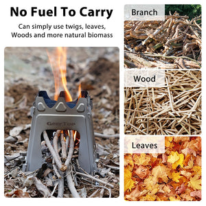 GeerTop Portable Folding Titanium Tourist Stove Firewood Fire Maple Cockle