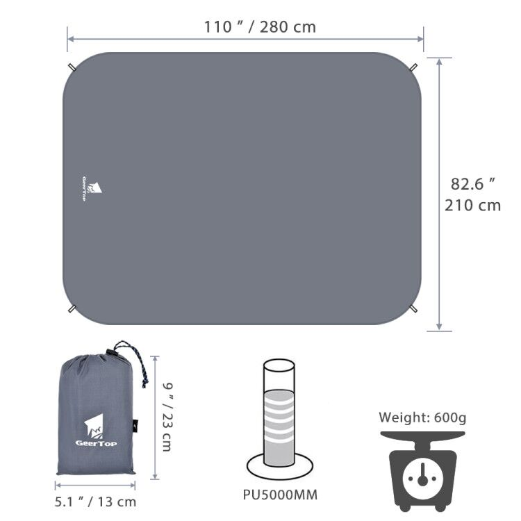 GeerTop Oval Gound SheetTent Tarp for Pop up Tent