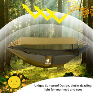 GeerTop Upgraded Hammock 3 in 1 Hammocks with Sun Shelter Tarp Waterproof Durable Nylon with Anti-Mosquito Net