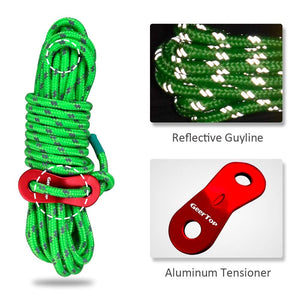 GeerTop Pegs and Rope with Tensioner Camping Tent Accessories