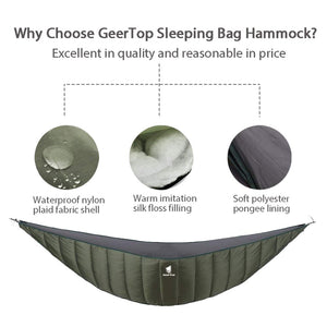 GeerTop 1 Person Outdoor Hammock Quilt Hanging Sleeping Bed