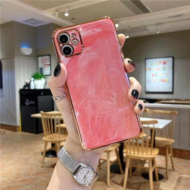 For iPhone 11 Case Luxury Marble Electroplated Gold Plated Phone - Goodiesfans