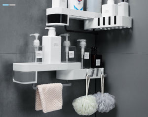 Corner Bath Storage Holder White and Grey