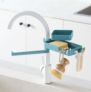 3 In 1 Rotatable Faucet Rack Blue