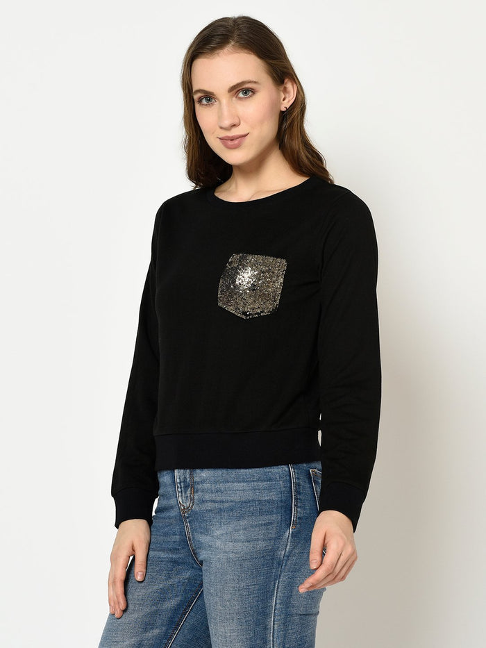 BLACK SWEATSHIRT WITH POCKET SILVER SEQUENCES - Avsoy