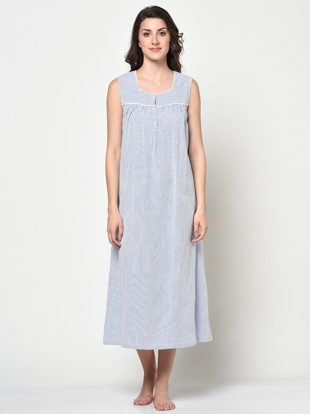 SEERSUCKER LADIES LACE NIGHTY - Avsoy