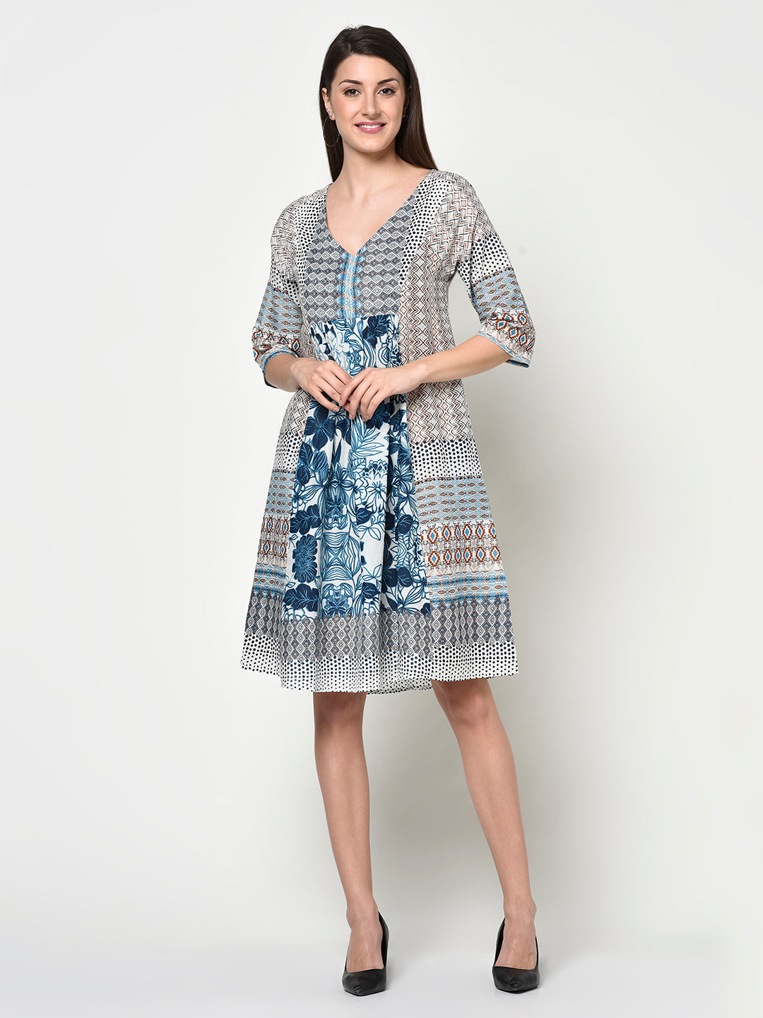 COTTON SLUB PRINTED LADIES DRESS - Avsoy