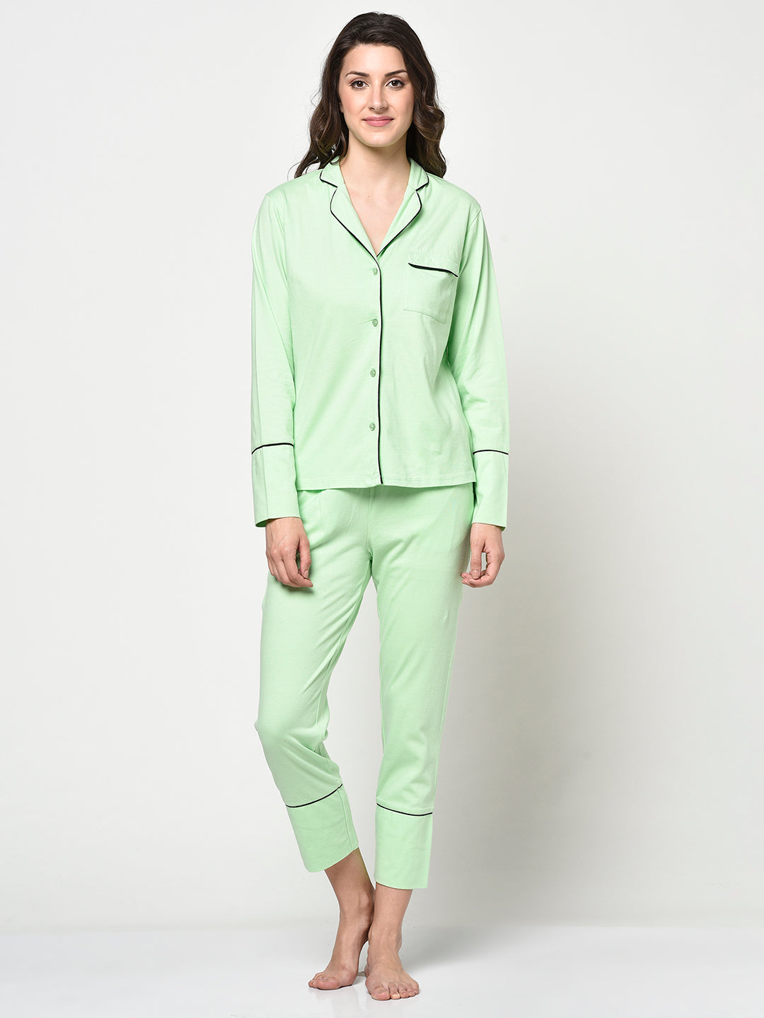 Pastel Green Ladies 2 Pcs Night Suit - Avsoy