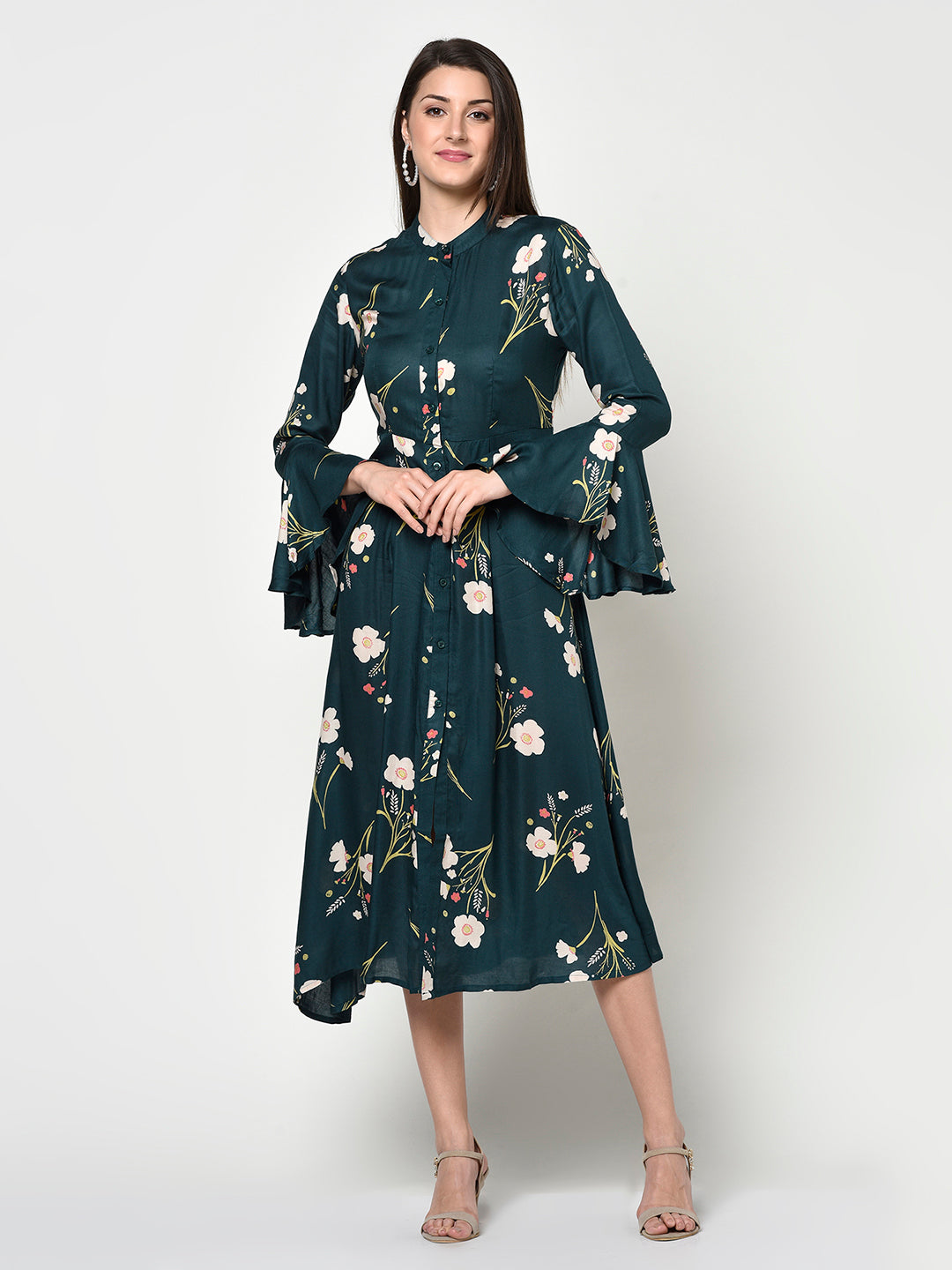 Ladies Floral Ruffle Front Button Dress - Avsoy