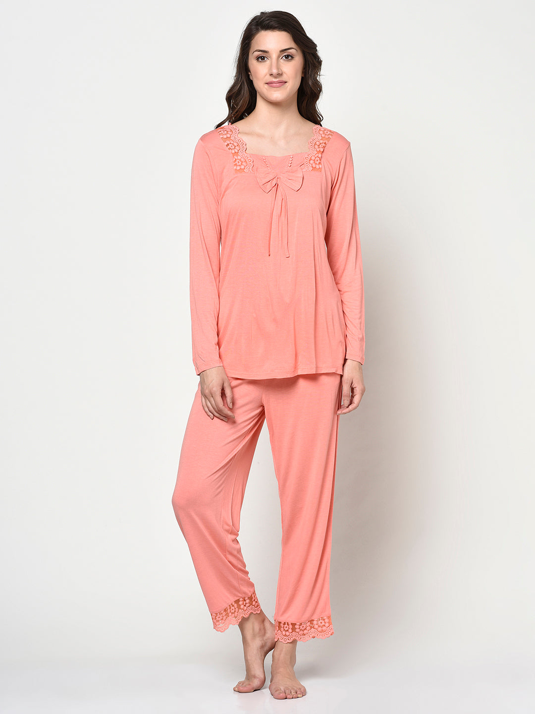 Peach Color Lace Collar Night Suit - Avsoy