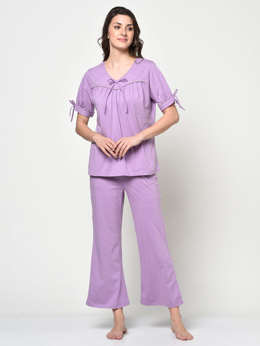 Lilac Ladies 2 Pcs Night Suit - Avsoy