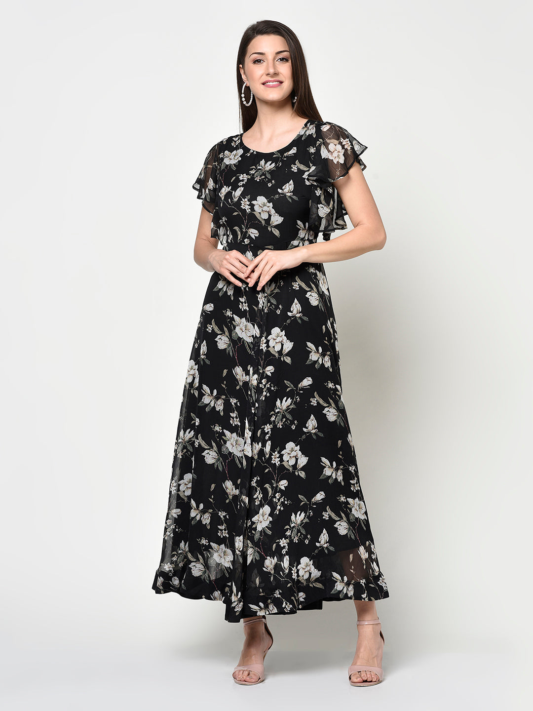 Black Floral Lined Ladies Long Dress - Avsoy