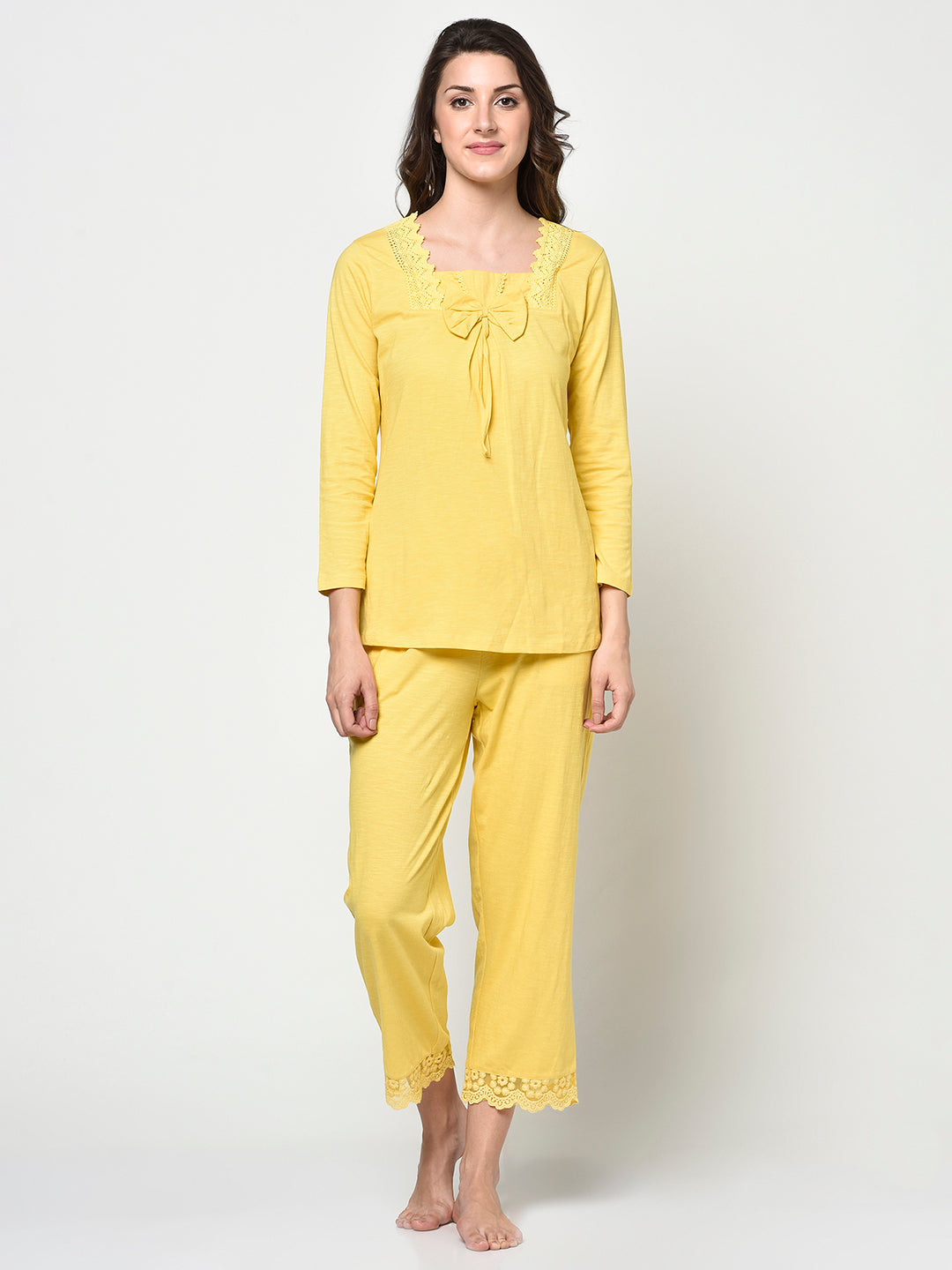 Bow Neck Design Yellow Ladies 2 Pcs Night Suit - Avsoy