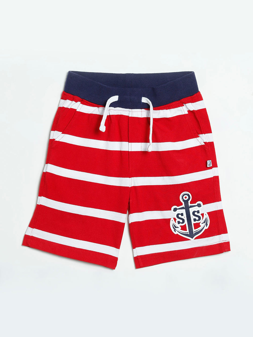 Striped Jersey Shorts with anchor