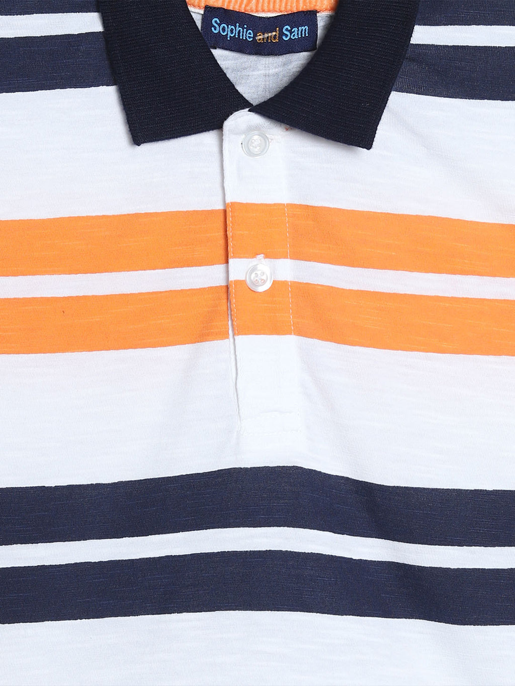 Orange and Navy Striped Collared Shirt
