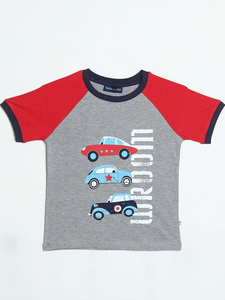 Car Graphic Grey and Red T- Shirt