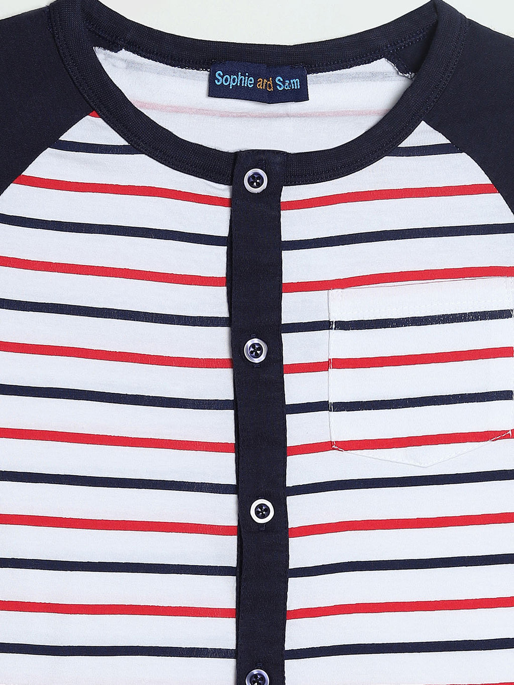 Button Down Striped Raglan Shirt