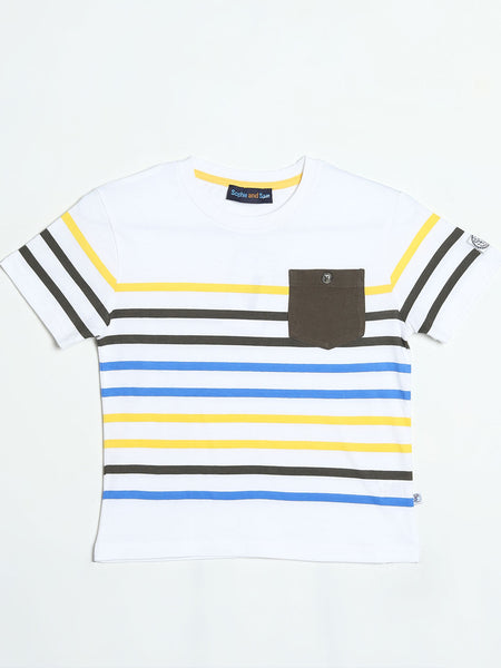 White, Yellow and Blue Striped T- Shirt