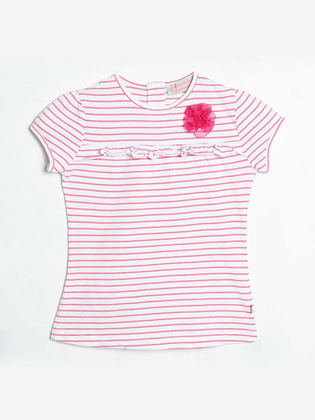 Pink Stripe Floral Ruffle-Trim Button-Back Cap-Sleeve Tee