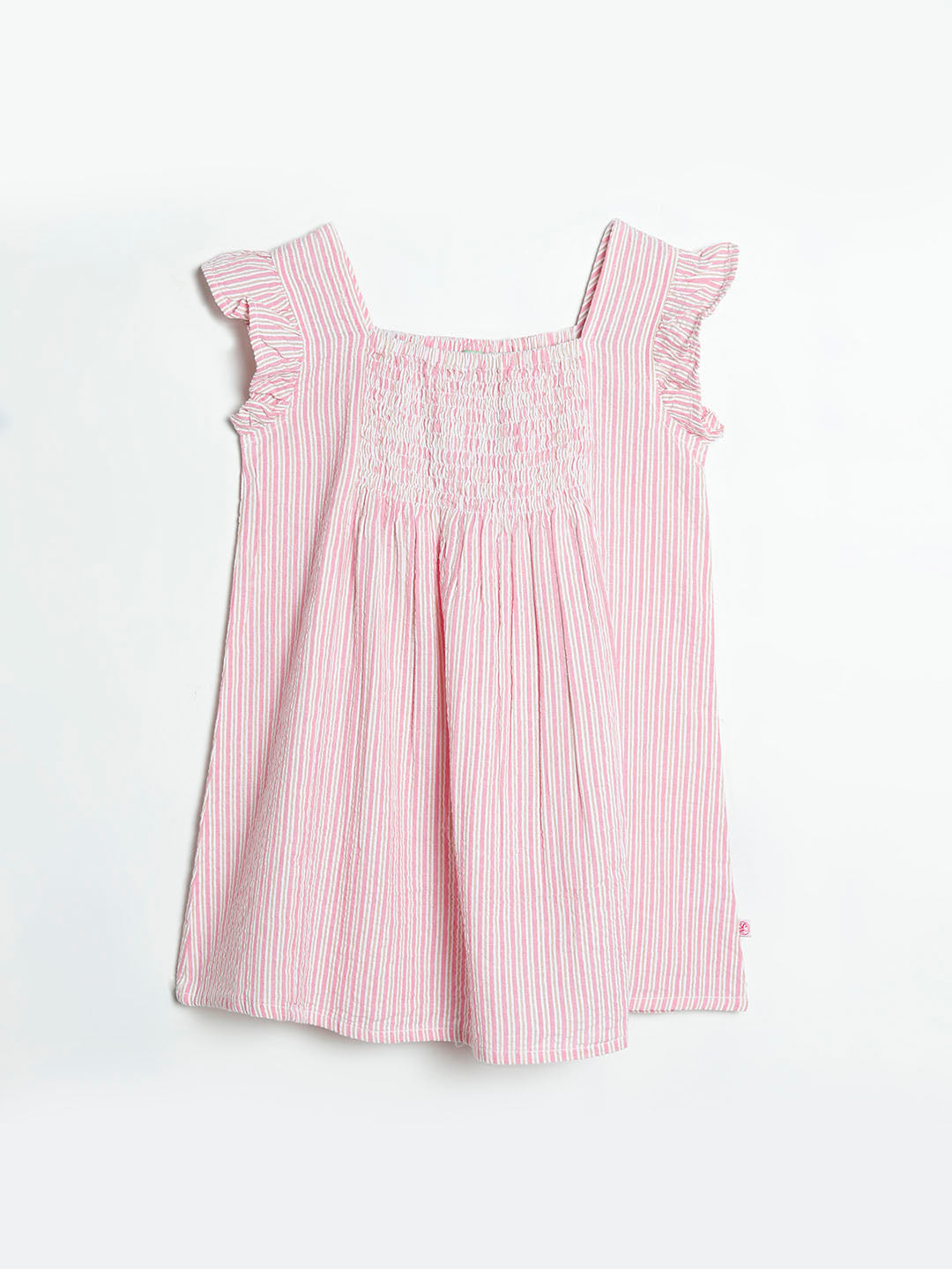 Seersucker Dress With smocking detail