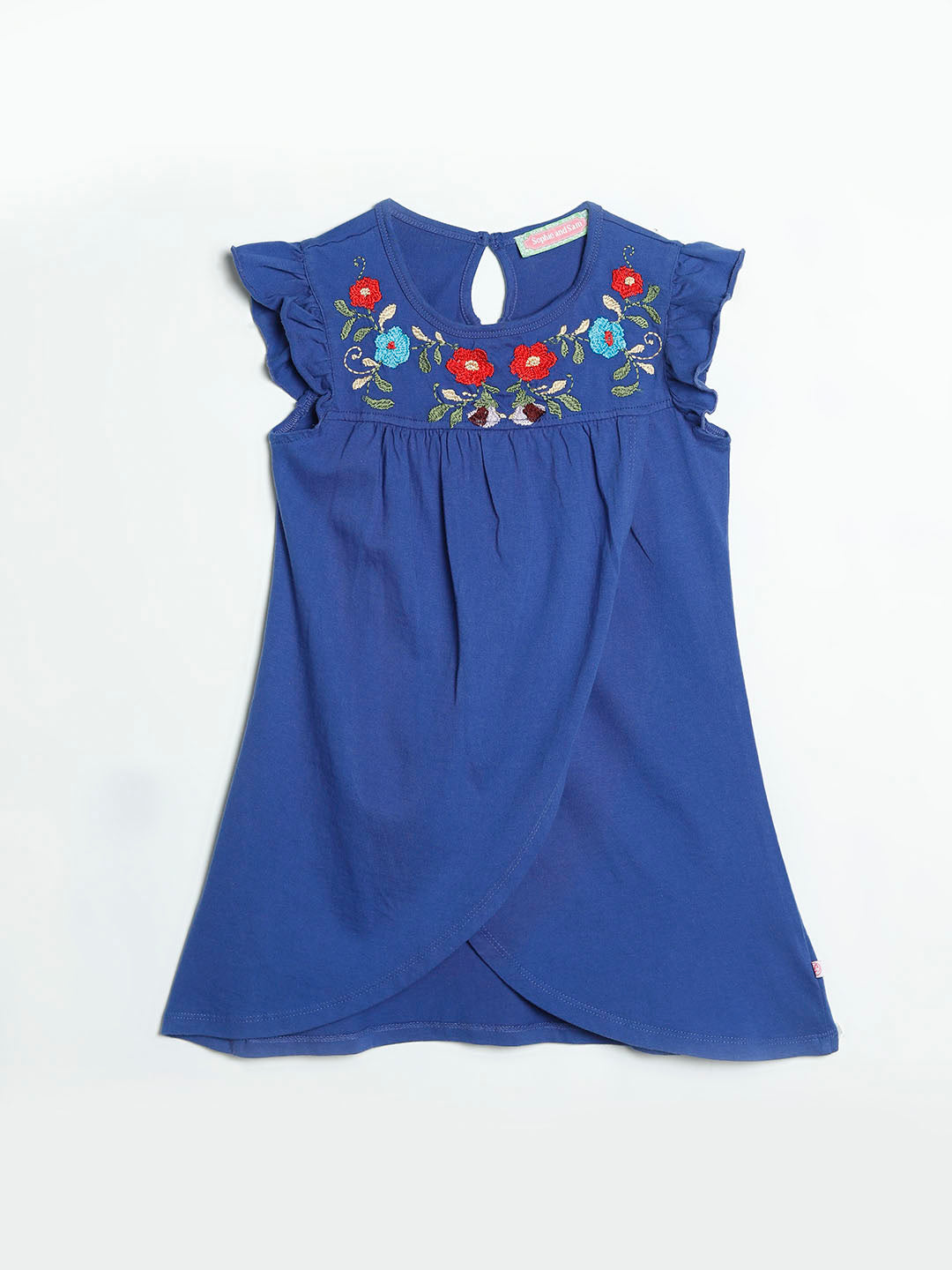 Slub Jersey Dress with floral embroidery