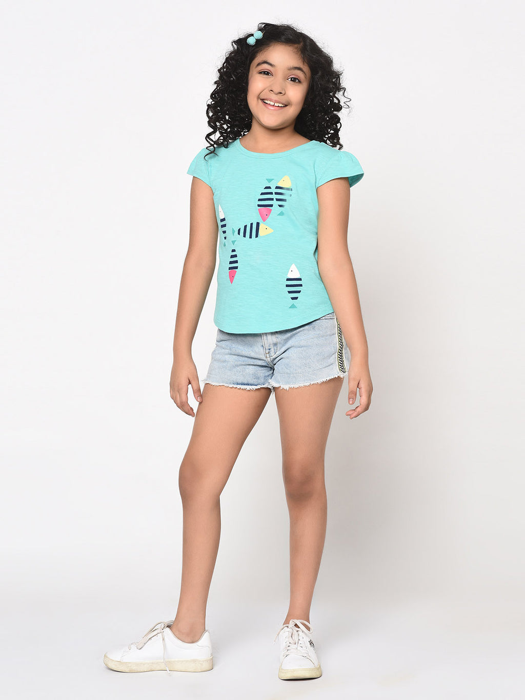 Cross back jersey top with fish print