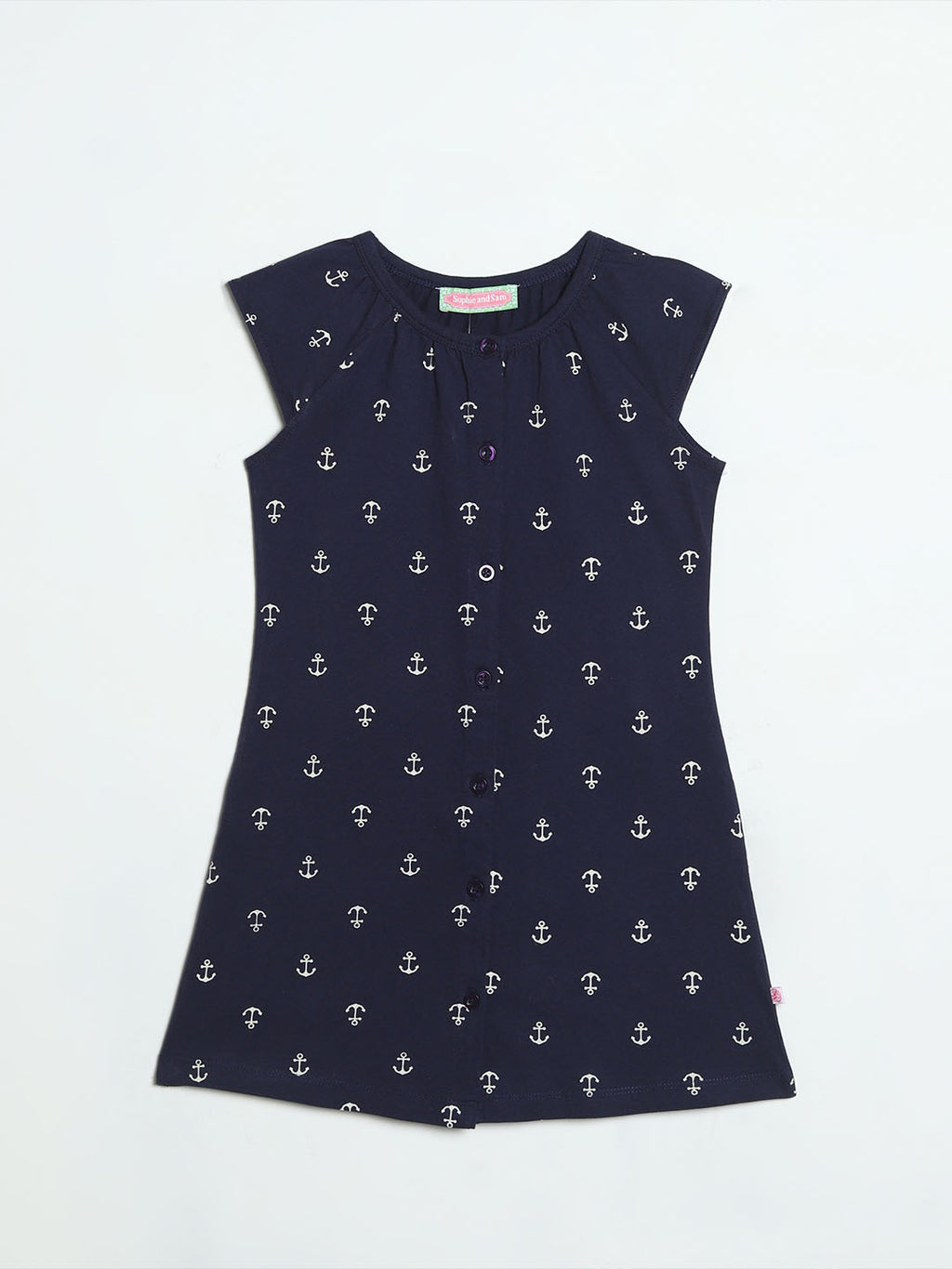 Anchor Print Navy Button-down Dress
