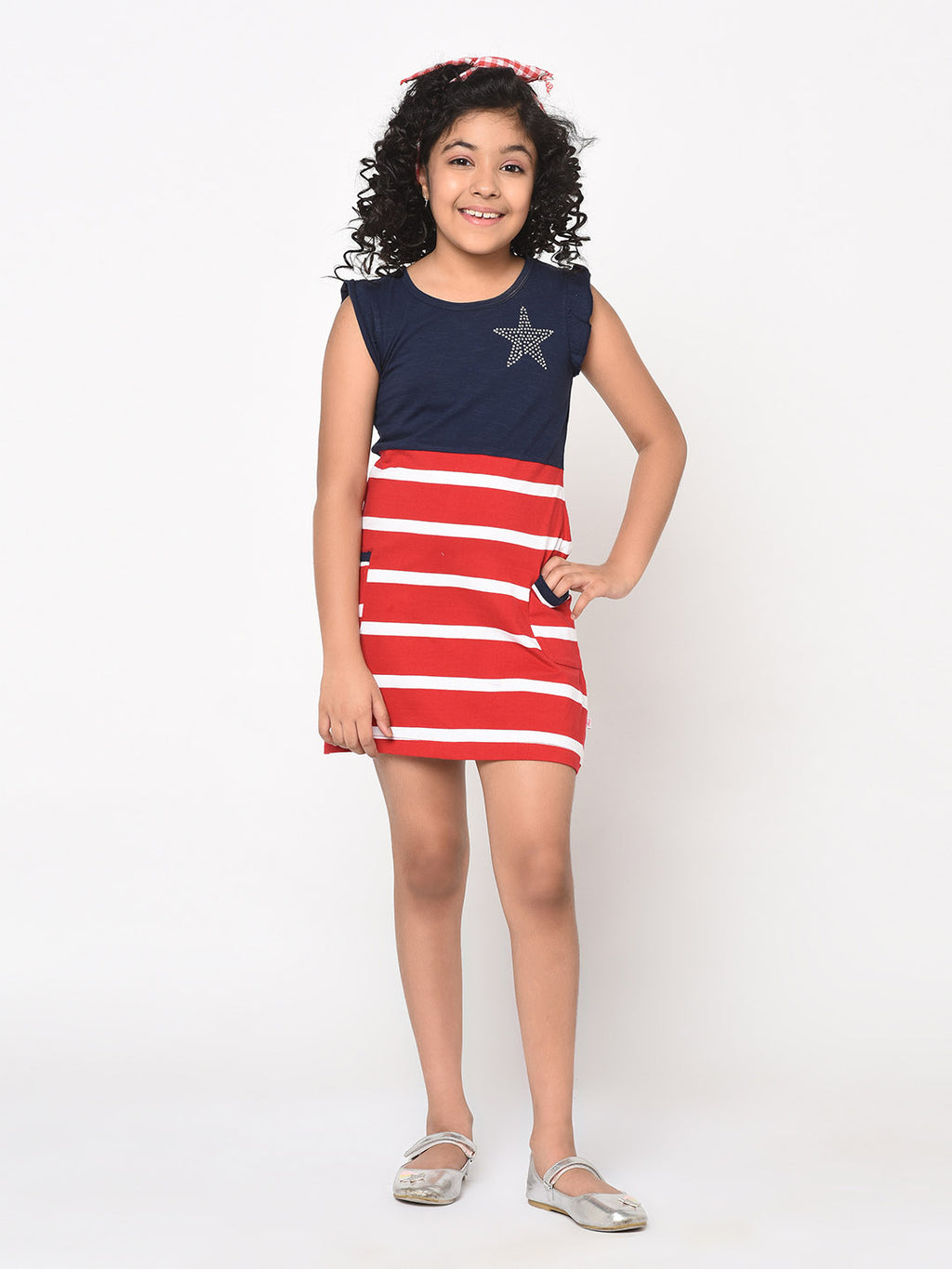 Bow Back Striped star rhinestone dress