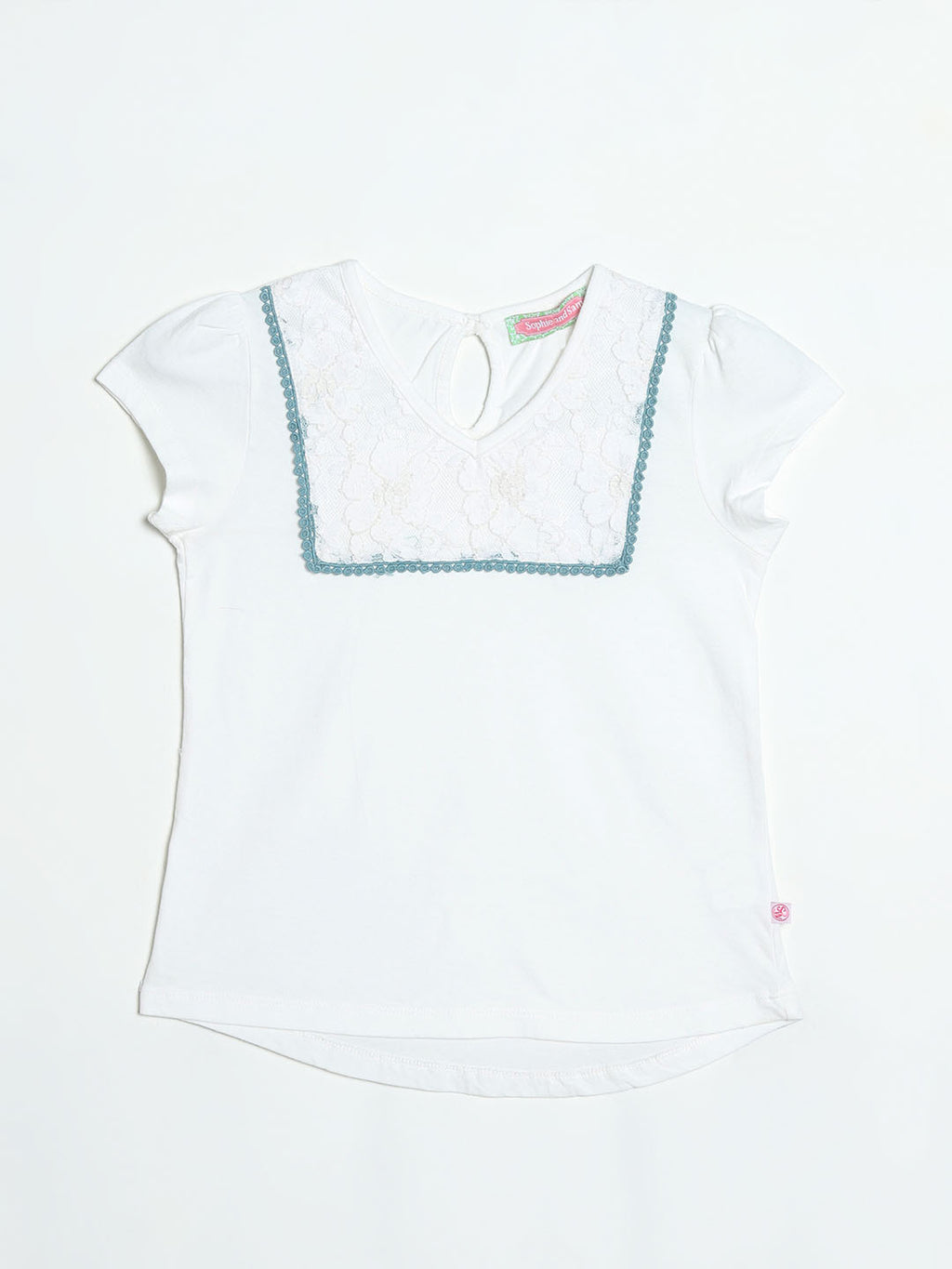 Net Yoke White Top with Keyhole Back