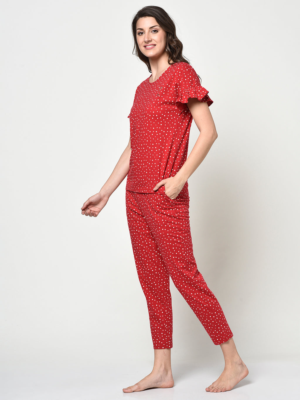 Red Polka Dot Ladies Ruffle Sleeve 2 Pcs Night Suit - Avsoy
