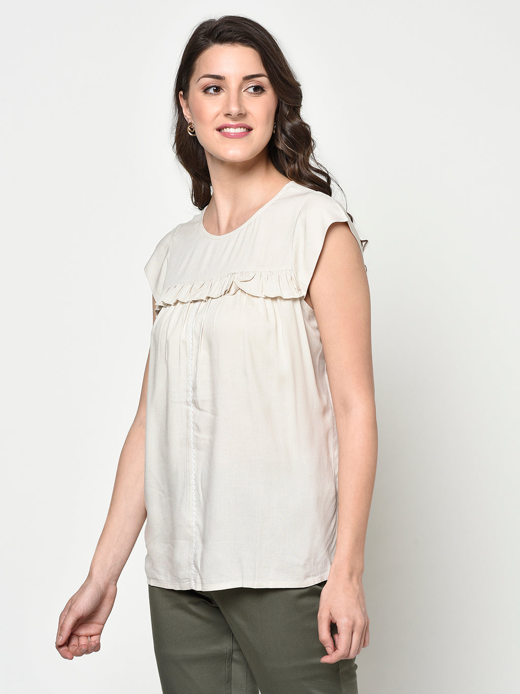 Cream Ladies Sleeveless Top with Front Ruffles - Avsoy
