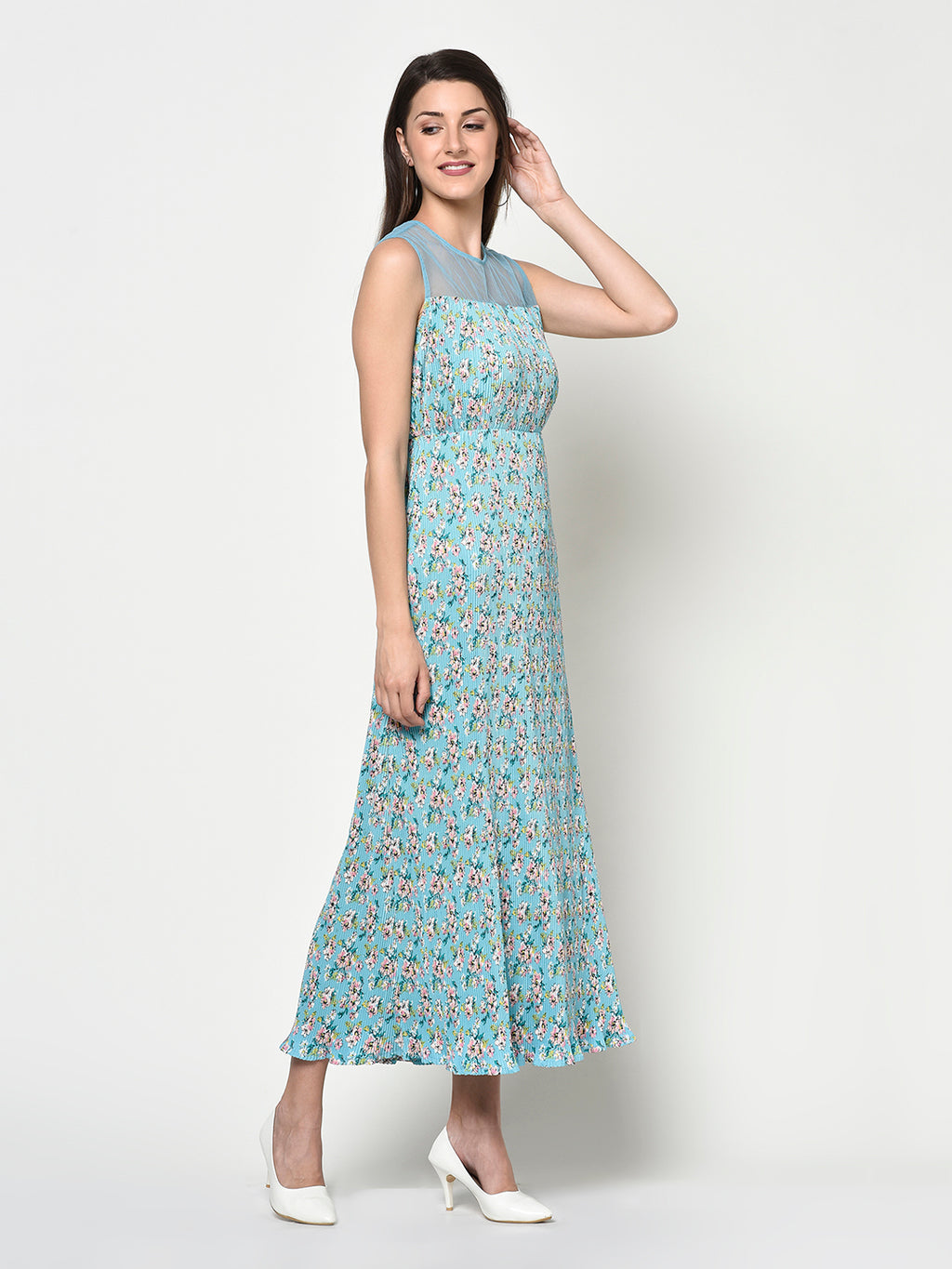 Ladies Floral Design Printed Pleated Long Dress - Avsoy