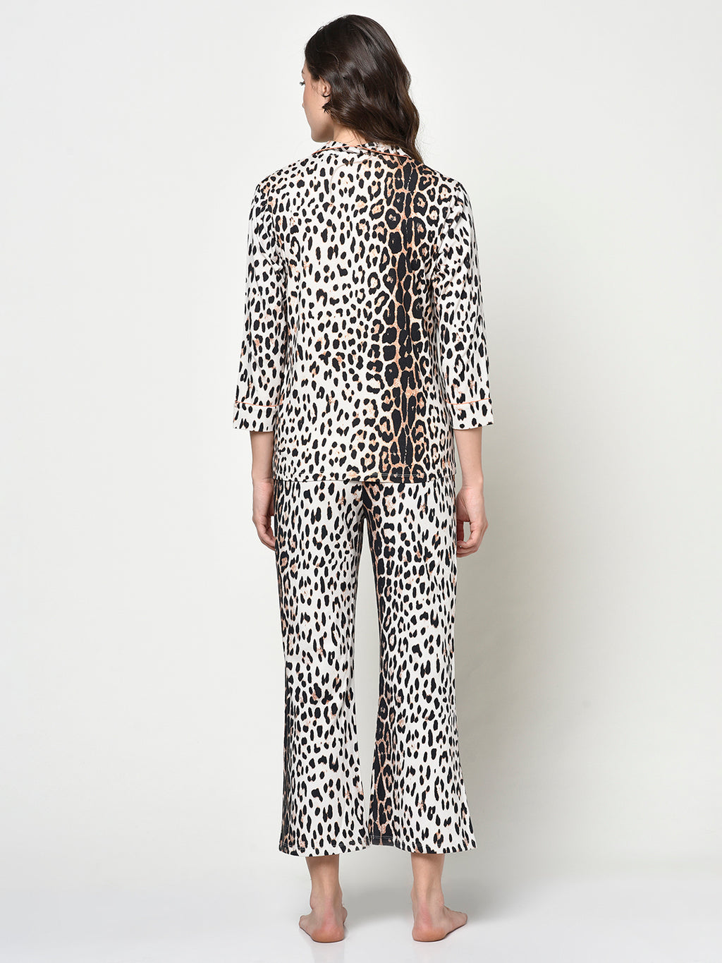 Animal Print Ladies 2 Pc Front Button Night Suit - Avsoy