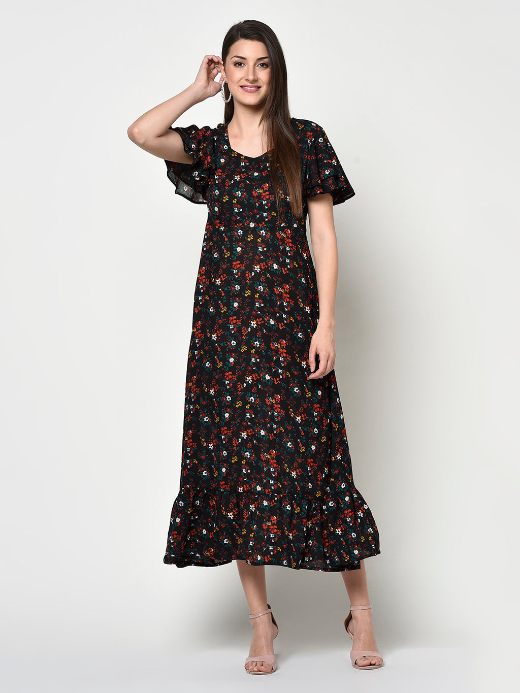 Black Floral Short Ruffle Sleeves Dress - Avsoy