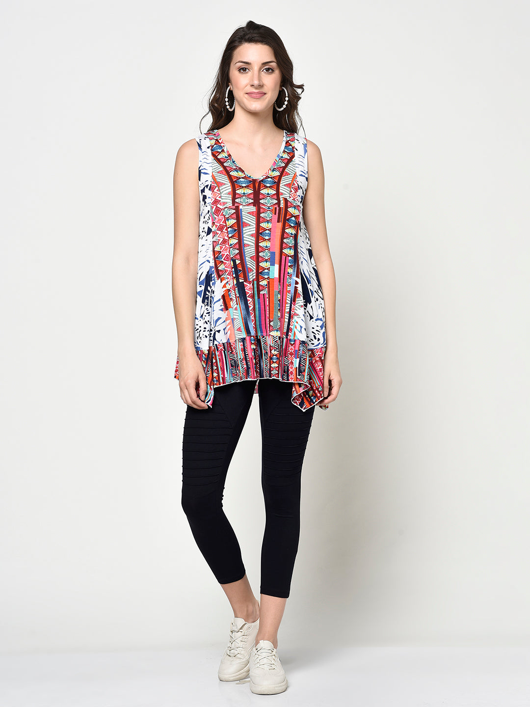 Sleeveless Block Printed Ladies Tunic Top - Avsoy