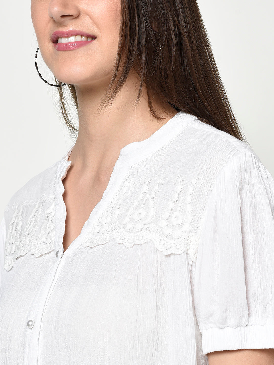 WHITE CRINKLE COTTON CREPE LACE SHIRT TOP - Avsoy