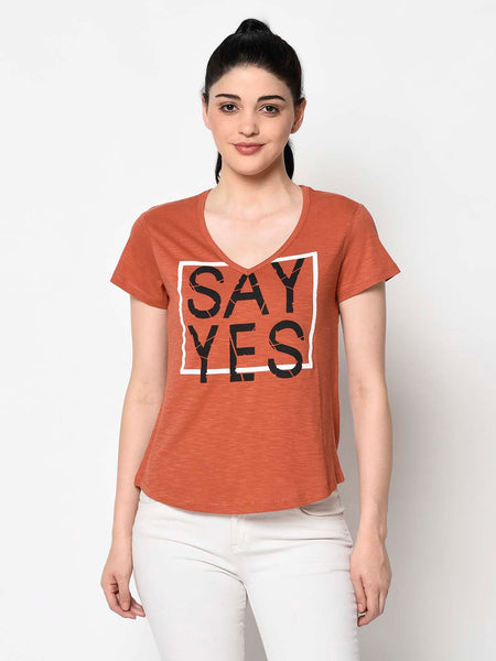 Rust Coloured Graphic Tee
