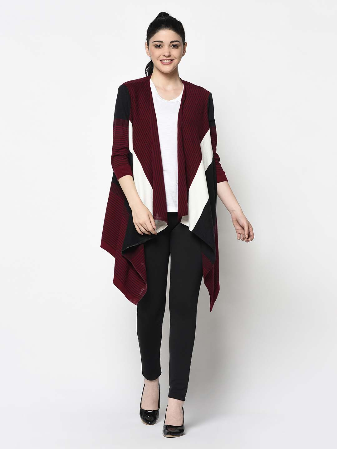 Maroon, White And Black Trail Shrug
