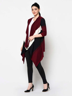 Maroon, White And Black Trail Shrug - Avsoy
