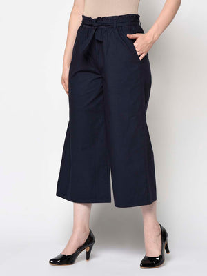 Navy Women Wide Leg Cropped Pants