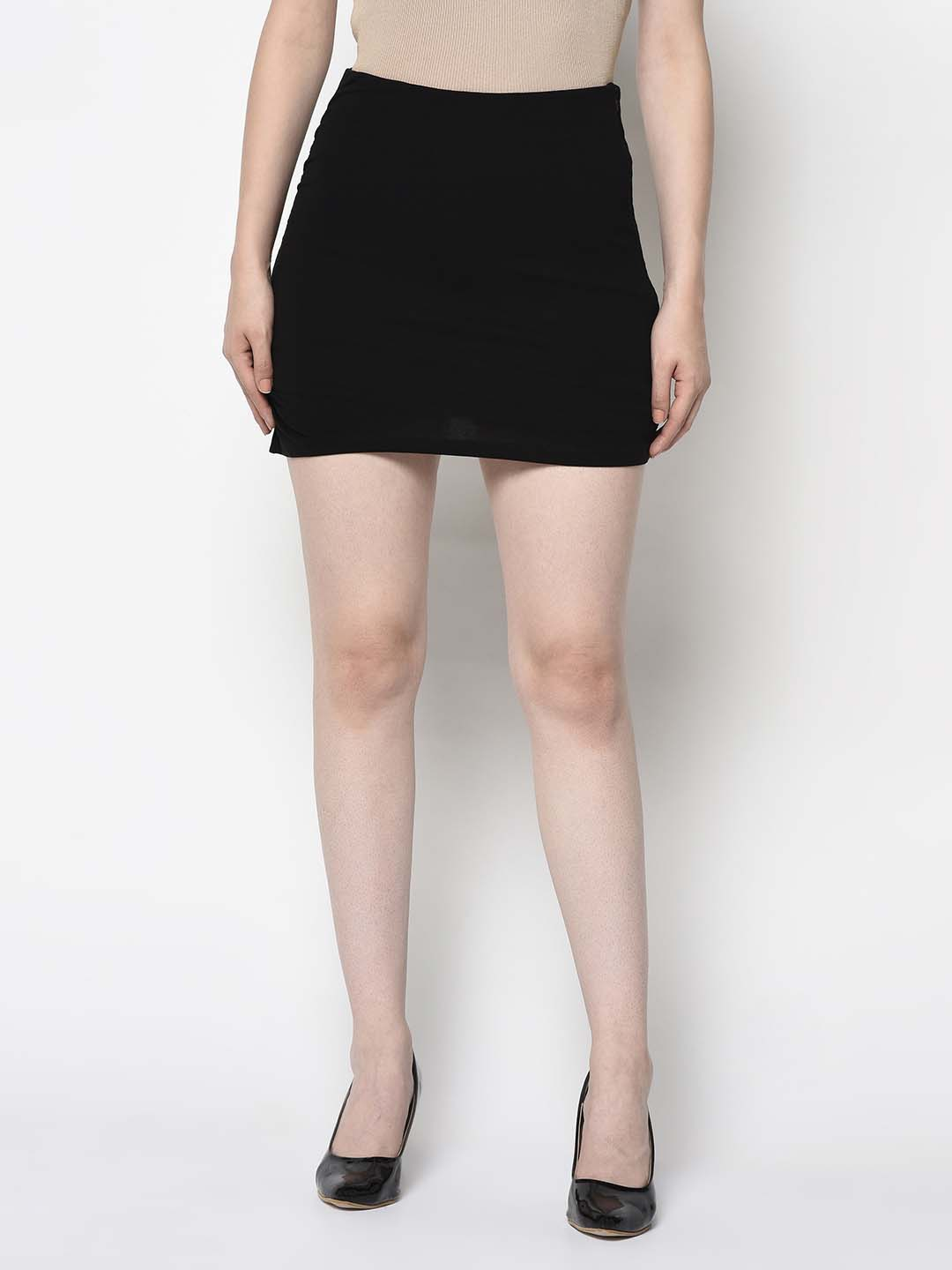 Black Curve Hugging Mini Skirt