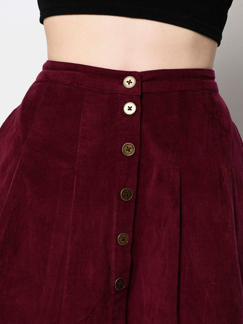 Pleated Maroon Skirt