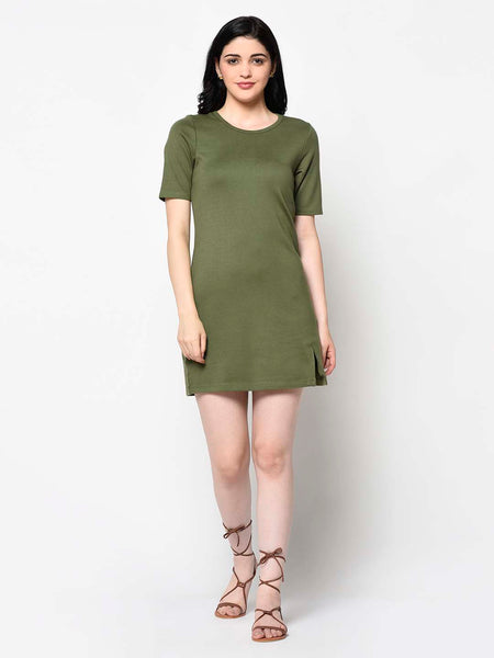 Curve Hugging Military Green Dress