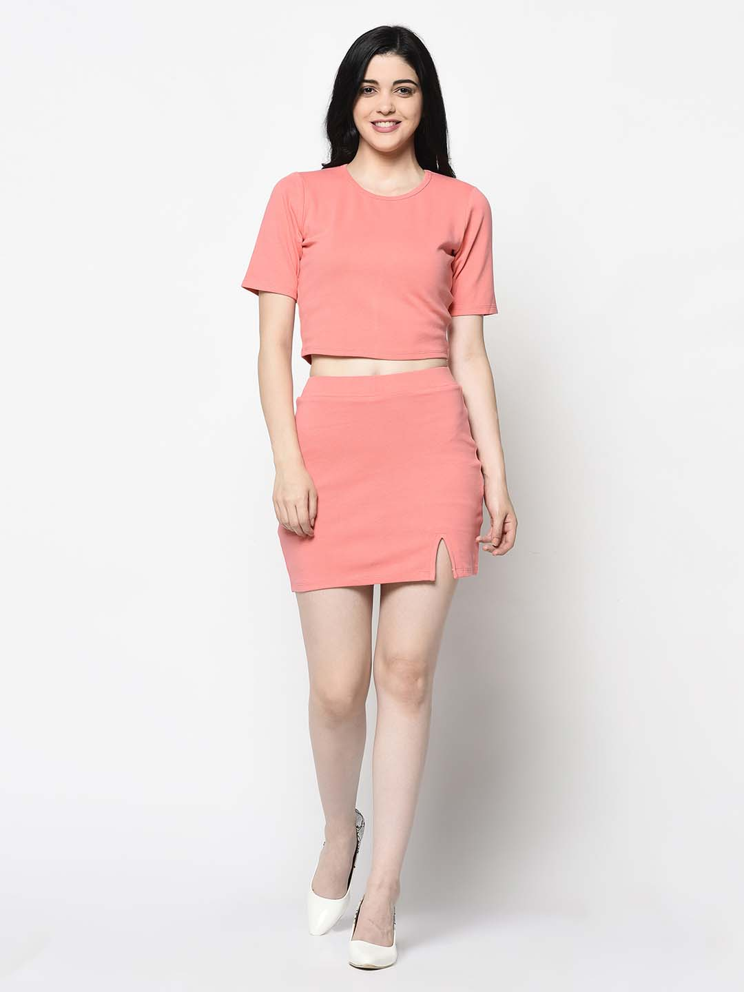 Peach Top And Skirt Set - Avsoy