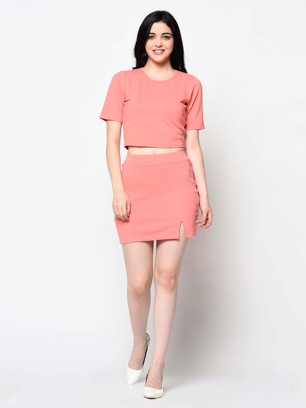 Peach Top And Skirt Set