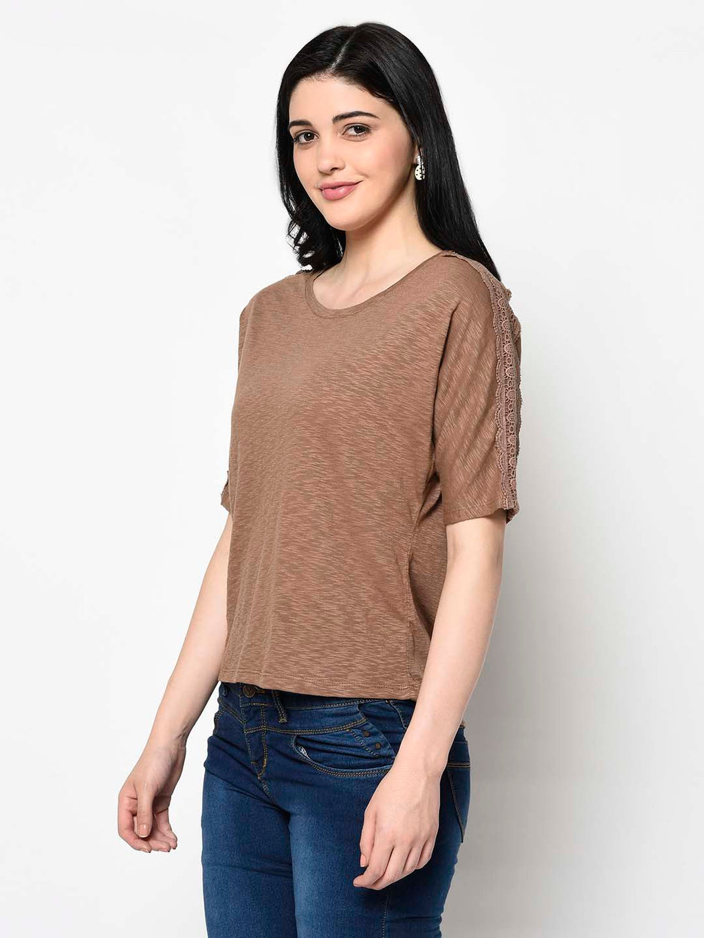 Beige Slub Tee with Lace at Sleeves - Avsoy
