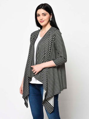 White And Black Pattern Shrug - Avsoy