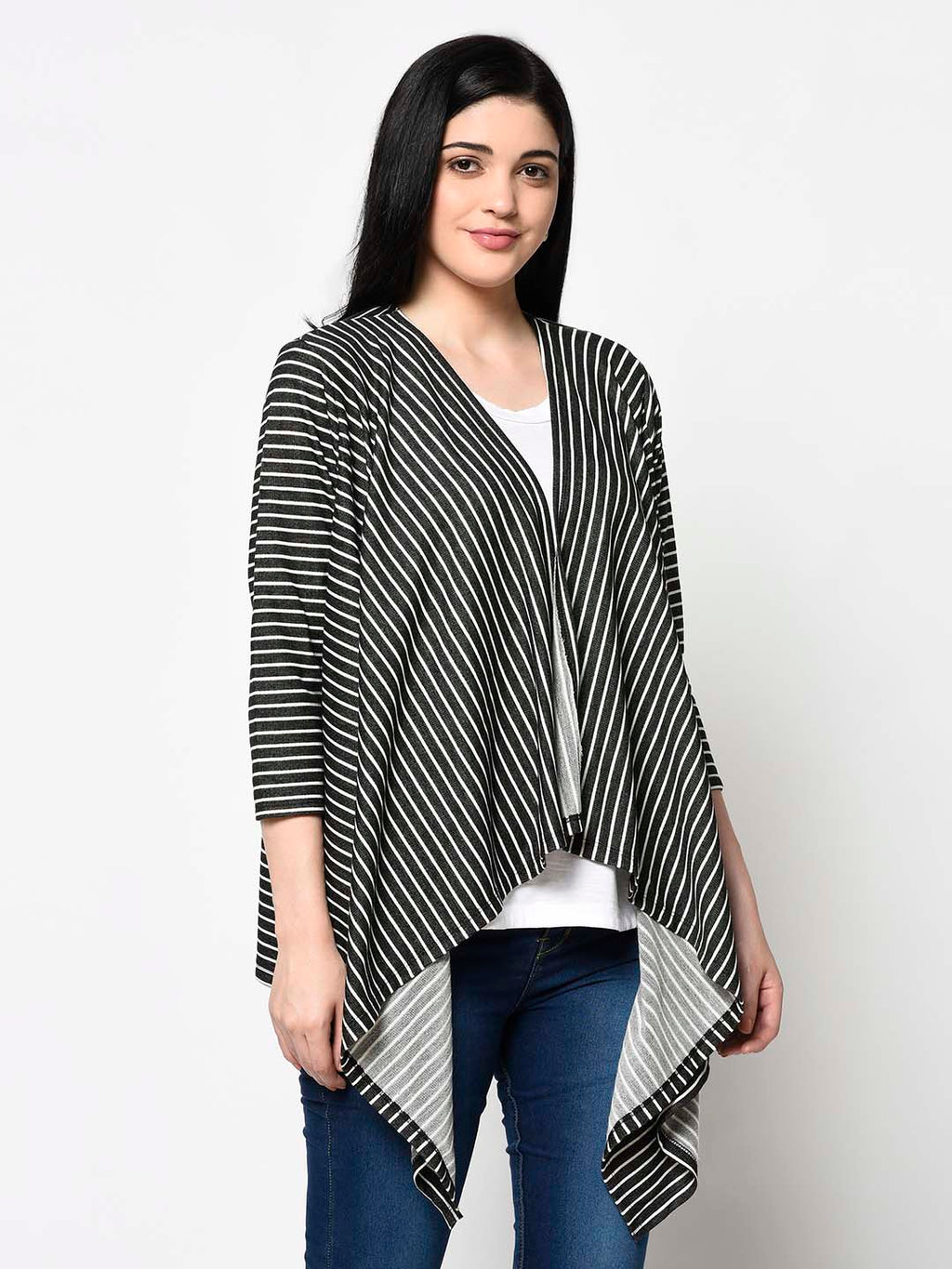 White And Black Pattern Shrug