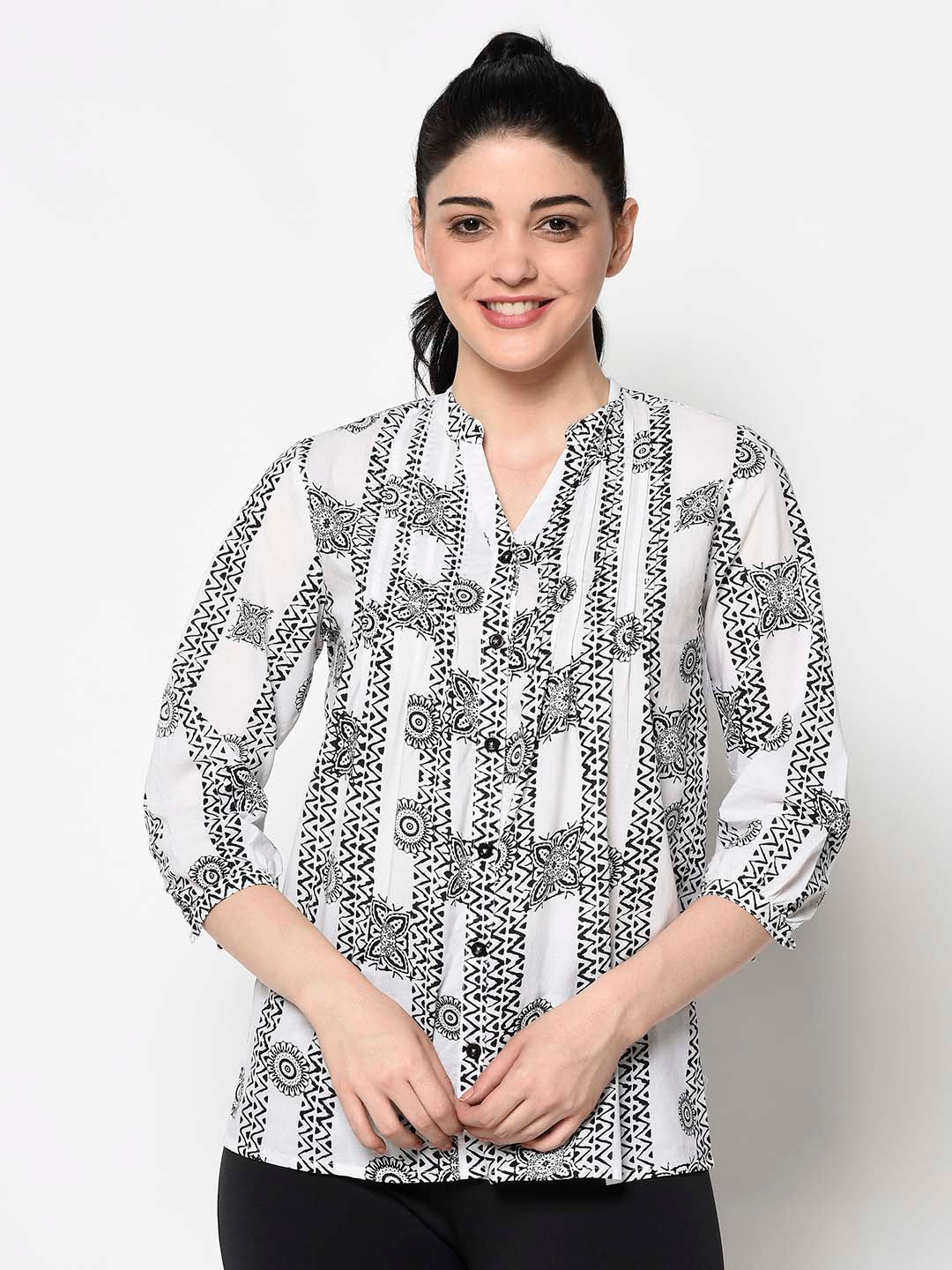 Black And White Pattern Kurti