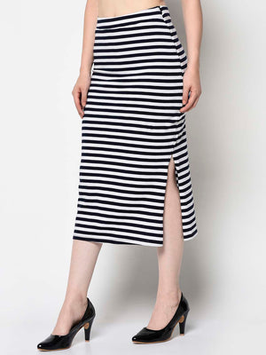 Navy And White Maxi Ballerina Skirt - Avsoy